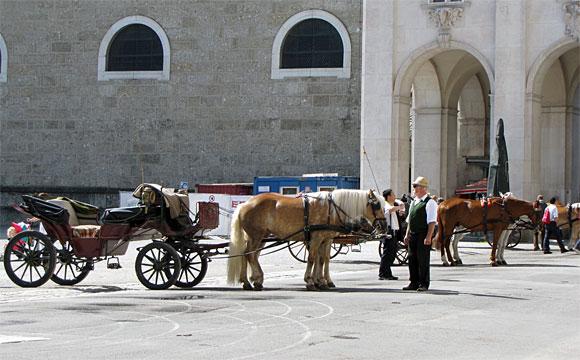 レジデンツ広場の観光馬車