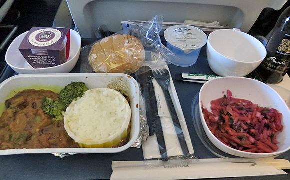 ブリティッシュ・エアウェイズ機、機内食