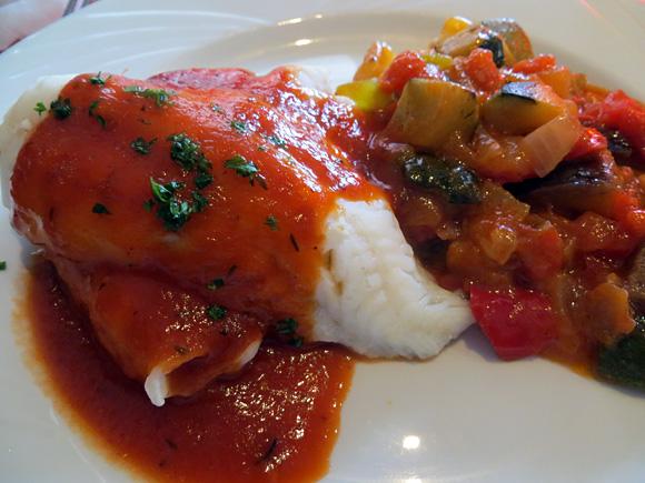 ラタトゥイユと白身魚(ヒラメ)