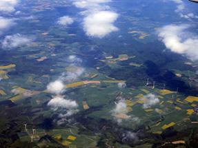 フランクフルト空港への空路