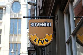 リガ旧市街の看板