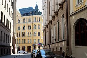 リガ旧市街の街角