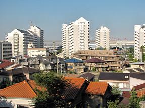 ワシン坂から見た横浜山手の景観