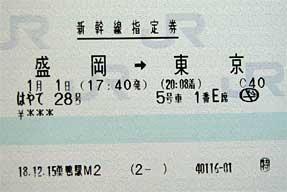 正月パス・切符・指定券