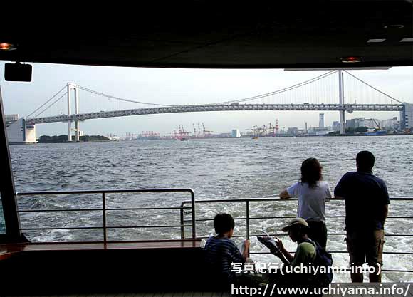 水上バス・遠くはレインボーブリッジ