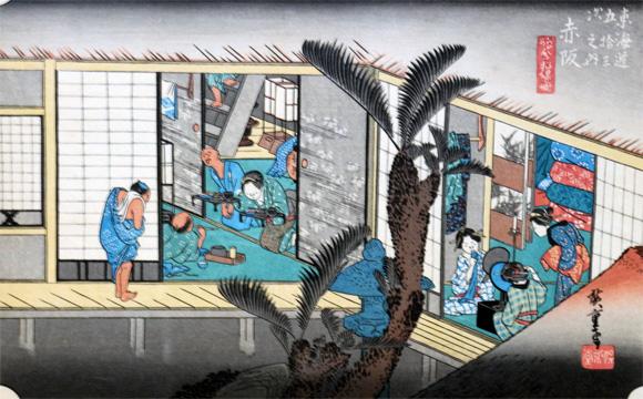 赤坂宿・赤坂「旅舎招婦図」