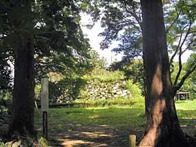 二俣城址・木立の間の天守台跡