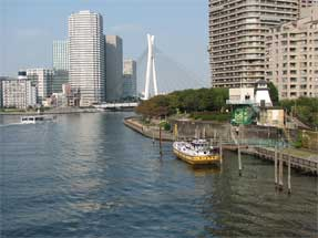 佃島渡船場跡・隅田川