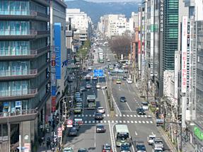 京都駅の中央コンコースからの眺望